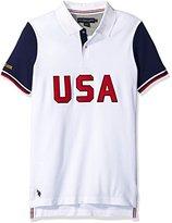 U.S. Polo Assn. Men's Short Sleeve Color Block Slim Fit Pique Shirt