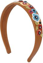 RED Valentino Floral Embellished Leather Headband