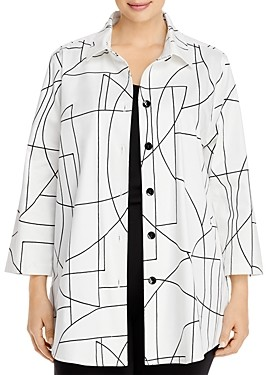 Caroline Rose Plus Ready, Set, Summer Stretch Printed Boyfriend Shirt