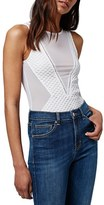 Topshop Women's Sheer Mesh & Airtex Bodysuit