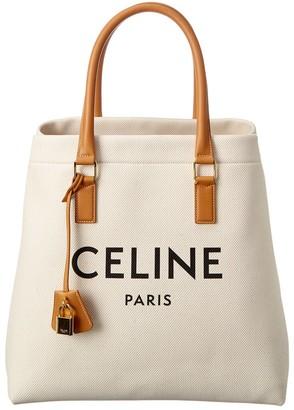Celine Horizontal Cabas Canvas & Leather Tote