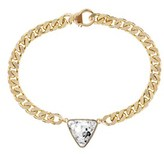 EKLEXIC Triangle Crystal Pendant & Curb Chain Necklace (gold).