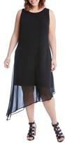 Karen Kane Plus Size Women's Asymmetrical Overlay Shift Dress
