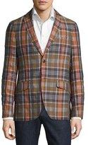 Etro Madras Plaid Linen-Cotton Blazer, Beige