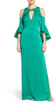 Shoshanna Women's Ruffle Cold Shoulder Crepe Satin Gown