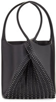 Paco Rabanne Pliage Medium Leather Tote Bag, Black