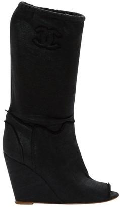 Chanel Black Cloth Boots
