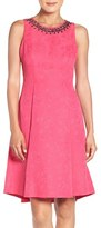 London Times Embellished Faille Fit & Flare Dress