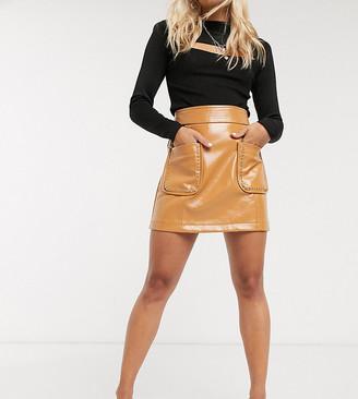 Topshop Petite vinyl stud detail mini skirt in caramel