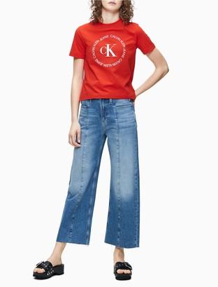 Calvin Klein Mid-Blue Seamed Wide Leg Ankle Jeans