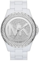 MICHAEL Michael Kors Michael Kors 'Madison' Pave Logo Watch, 42mm White/ Silver