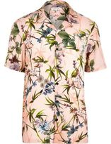 River Island Mens Pink hawaiian print short sleeve shirt