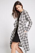 BCBGeneration Plaid Kimono Trench Coat - Black