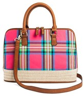Bueno Women's Jute Canvas Satchel Handbag with Madras Design and Zip Closure - Pink