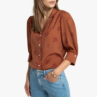La Redoute Collections Scarf Print Blouse with Elbow-Length Puff Sleeves