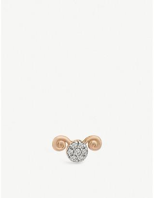 Selfridges Kismet By Milka Aries 14ct rose gold stud earring