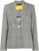 Versace checked single-breasted blazer
