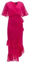 Saloni Rose Ruffled Polka-dot Silk-blend Dress - Womens - Pink