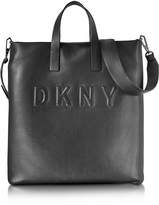 DKNY Debossed Logo Black/Black Leather Tote