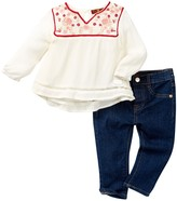 7 For All Mankind Blouse & Jean 2-Piece Set (Baby Girls)