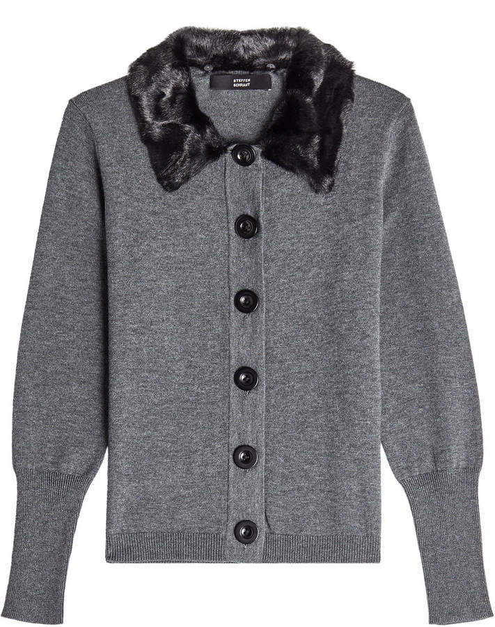 Steffen Schraut Cardigan with Faux Fur Collar