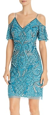 Aidan Mattox Beaded Cold-Shoulder Dress - 100% Exclusive