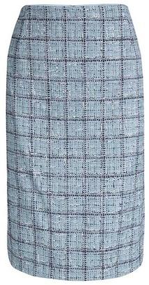 Carolina Herrera Powder Blue Checked Tweed Skirt XL