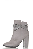 Quiz Grey Faux Suede Bow Detail Ankle Boots