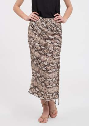 Blu Pepper Snake Print Ruche Midi Skirt