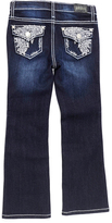 ZCO Dark Blue Feather-Embroidered Bootcut Jeans - Toddler & Girls