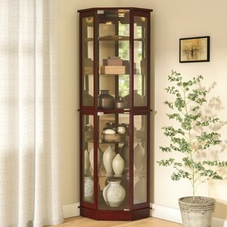 Andover Mills Biali Lighted Corner Curio Cabinet Color: Cherry