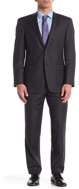 Hart Schaffner Marx Dark Grey Stripe Two Button Notch Lapel Worsted Wool Suit