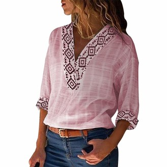 Lazzboy Women Lazzboy Tops Shirt Women Boho Ethnic Print 3/4 Long Sleeve V Neck Linen Size 8-16 Ladies Blouse(2XL(14-16)