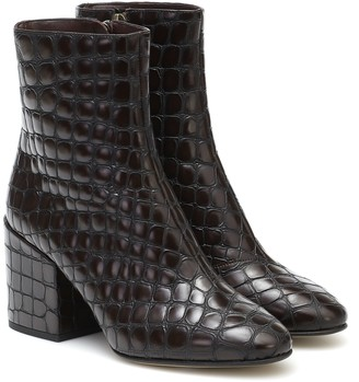 Dries Van Noten Croc-effect leather ankle boots