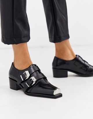 Asos DESIGN Morning leather monk flat shoes in black