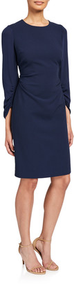 Kobi Halperin Drew Jewel-Neck Ruched-Sleeve Sheath Dress