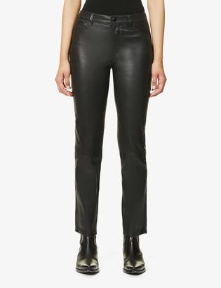 J Brand Adele slim-leg mid-rise leather trousers
