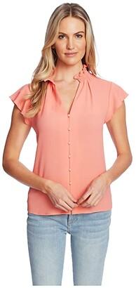 CeCe Short Sleeve V-Neck Button-Down Blouse (Hot Lava) Women's Clothing