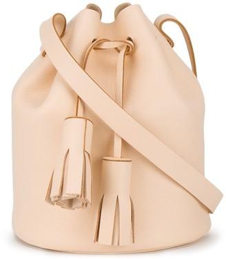 Building Block Peach tassel leather bucket bag