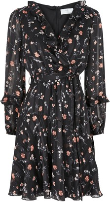 Wallis PETITE Black Ditsy Floral Fit And Flare Dress