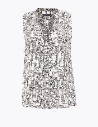 Marks and Spencer Printed V-Neck Sleeveless Shell Top