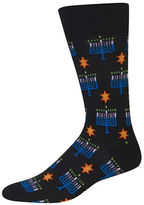 Hot Sox Menorah Printed Cotton Blend Socks