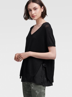 DKNY V-neck Pullover With Side Ties