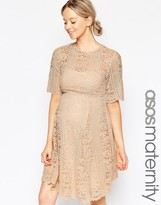 Asos Premium Lace Skater Dress With Angel Sleeves