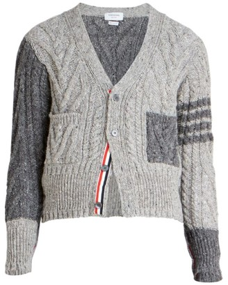 Thom Browne Cable-Knit Two-Toned Wool Cardigan