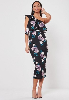 Missguided Black Floral One Shoulder Ruffle Midi Dress