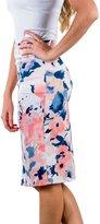 Annflat Women's Floral Print High Waisted Bodycon Work Pencil Midi Skirt