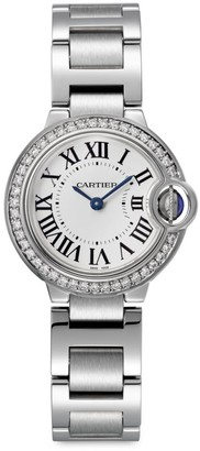 Cartier Ballon Bleu de Stainless Steel & Diamond Bracelet Watch/28MM