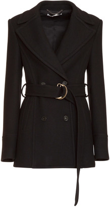 Stella McCartney Blue Wool Belted Coat