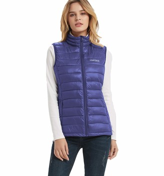 Freetrack Women's Packable Lightweight Down Vest Outdoor Puffer Padded Vests Jackets Stand Collar Sleeveless Outwear(Grey-XL)
